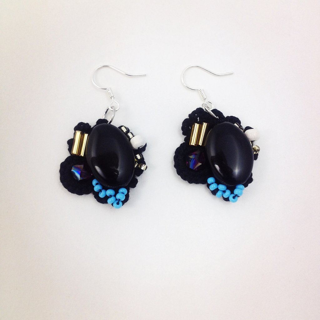 Black Bead Earrings